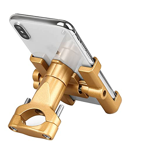 Soporte de teléfono móvil para bicicleta, de aluminio y motocicleta, con rotación de 360°, para smartphone o moto, universal, para smartphone de 4,0 a 6,8 pulgadas, GPS, otros dispositivos (dorado)