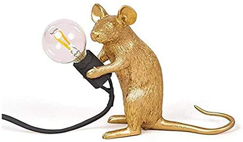 Aplique de Pared 1xE12 con lámpara de Mesa con Interruptor Mini lámpara de ratón Animal de Resina Adecuada para decoración de lámparas de Noche de Dormitorio-Sentado a la Derecha