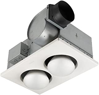 Broan-Nutone 9427P Bulb Heater and Fan, Energy-Saving 2-Bulb Infrared Ceiling Heater, White, 500-Watt, 4.0 Sones, 70 CFM