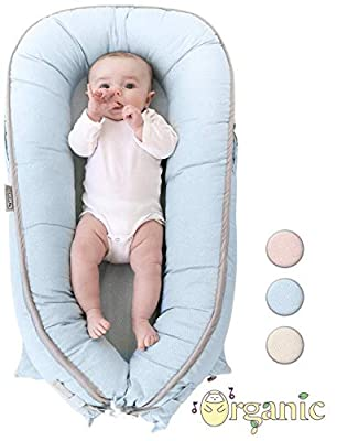 Organic Newborn Lounger   Water-Resistant Baby Nest   for Infants & Toddlers 0-12 Month   for Girls and Boys   (Blue)