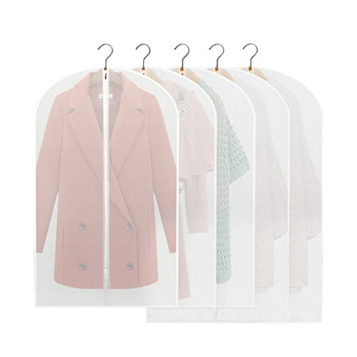 Naerde Confezione da 5 PVEA Ecologico Vestito Trasparente Vestito Indumento vestiti coprono i vestiti di borse, lunga zip 3 x100 * 60cm completo e 2 x128 * 60cm enorme borsa porta abiti