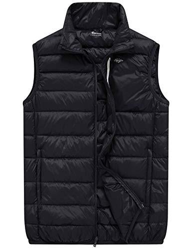 Wantdo Men's Packable Light Weight Sleeveless Down Puffer Vest Black Medium