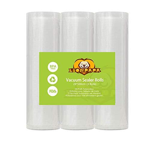 LIONPAPA Profi- Folienrollen Vakuumierrollen für alle Balken Vakuumierer BPA-frei stark reißfest kochfest Sous Vide geeignet wiederverwendbar für Folienschweißgeräte geeignet(28x500 cm 3 Rollen)