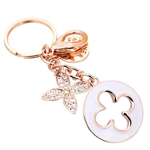 JewelBeauty Charms Schlüsselanhänger mit vierblättrigem Kleeblatt vergoldet Swarovski-Kristalle für Damen weiß
