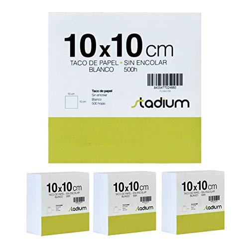 Lote (15 pack) taco de papel Stadium sin incolar, hojas notas de 500 hojas, Ideal para pequeñas notas rápidas (10X10 CM)