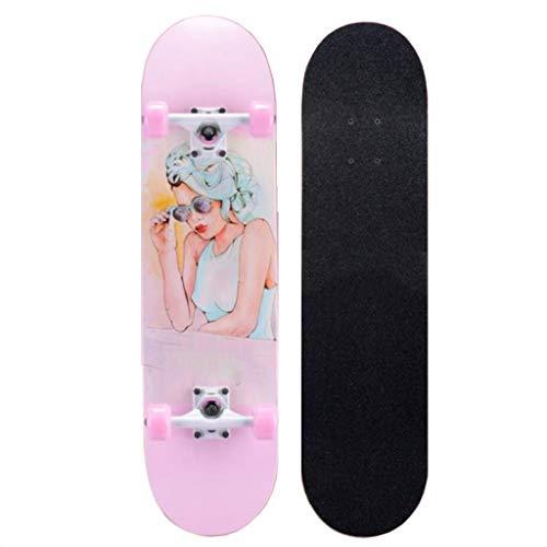 ZWLI Skateboard Unisex Erwachsene Sports - Skateboard XXS für,Skateboard [PP-Achsen und -Base, Deck aus 7-lagigem Ahornholz, PU Rollen, ABEC-11 Kugellager]