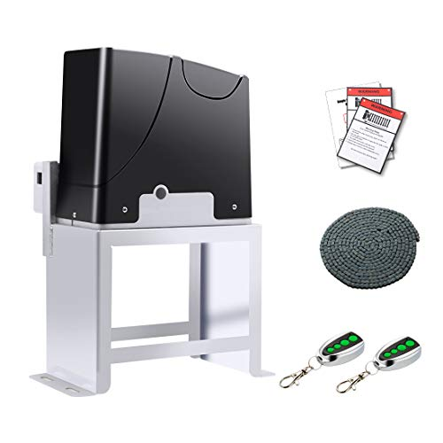 TOPENS DKC1000 Automatic Sliding Gate Opener Kit Sliding Gate Motor for Heavy Duty Slide Gates Up to 1800 lbs and 40 ft Chain Driven Driveway Security Gate Operator Battery Powered Solar Compatible