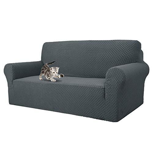 MAXIJIN Fodere per divani più recenti per 3 posti, Fodera per Divano Jacquard Elasticizzata per Cani Fodere per mobili in 1 Pezzo Elastiche per Animali Domestici (3 Posto, Jacquard Grigio)
