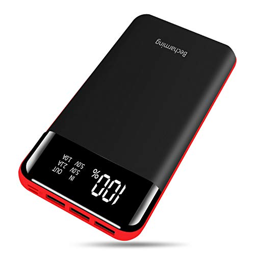 Power Bank 25000mAh Portable Charger High Capacity Battery Pack Backup External USB Battery Power Pack Battery Charger 3 Output 2 Input with LCD Display Compatible Smartphone, Android Phone, Tablets
