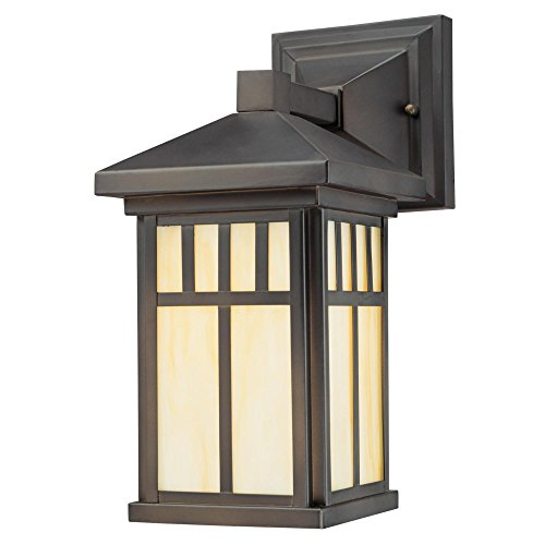 Westinghouse Lighting 6732800 Burnham One-Light Exterior Wall Lantern on Steel with Honey Art Glass, Oil Rubbed Bronze Finish, 1 Pack