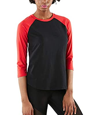 TSLA Women's Dynamic Cotton Raglan Baseball 3/4 Sleeve Active Top T-Shirt, Dyna Cotton 3/4 Sleeve(fts32) - Black & Red, X-Large