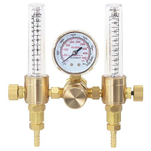 RX WELD Dual Output Argon Regulator Flow Meter Mig Tig 0-60CFH CGA580 Inlet 5/