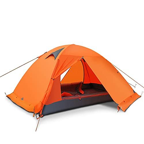 JQDZX Tienda de Campaña Impermeable, Portátil Ligera Tienda Domo con Bolsa de Almacenaje Ventilación, para 2 Personas, Adultos, Equipo de Camping, mochilero y Senderismo (Orange,3-4 People)