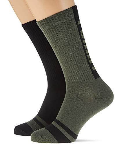PUMA Seasonal Logo Crew Socks (2 Pack) Calcetín casual, verde militar, 39/42 (Pack de 2) para Hombre