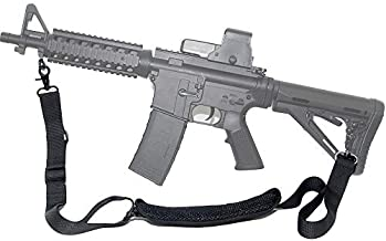 Tactical Single Element Rifle Sling 2 Point Gun Strap with Shoulder Pad Nylon Webbing Durable Metal Clasps Quick Adjustable Length for Outdoor Sport Hunting Shooting