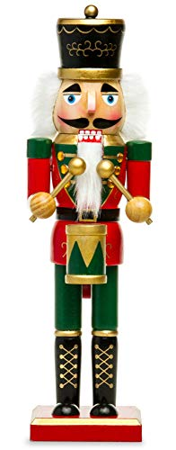 Sikora NK-D aufwändig gestaltete Deko Nussknacker Figur aus Holz, Farbe/Modell:D02 rot/grün - TROMMLER, Höhe in cm:Höhe ca. 36 cm