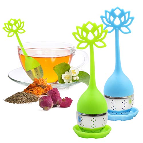 ANYI16 Tea Infuser Filter 2 Pack Stainless Steel Tea Ball  Loose Tea Steeper Mesh Tea Cup Filter with Flower shaped Silicone Handle for Loose Leaf or Herbal Tea