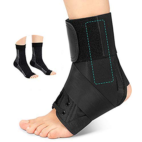 Knöchel Bandage Stützstrebe Stabilisieren für Männer und Frauen, Enstellbares Neopren dünne Kompressionsfußbandage für Knöchelverstauchung, Arthritis, Dehnung, Müdigkeit