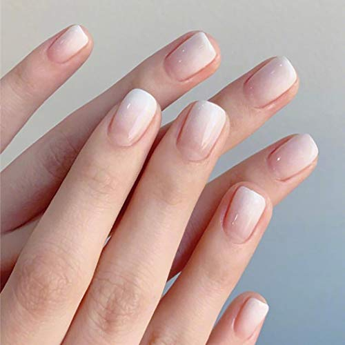 Brishow Künstliche Nägel Kurze Sarg Falsche Nägel Weiß Fingernägel Gefälschte Nägel Farbverlauf Acryl Stick auf Nägeln 24 Stück für Frauen und Mädchen