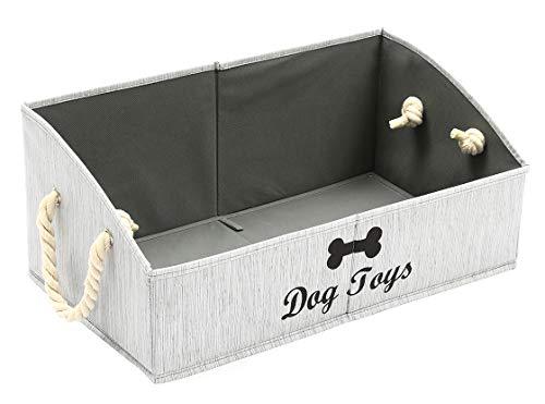 Morezi Aufbewahrungskorb für Haustierspielzeug und Zubehör, aus Segeltuch, ideal für die Organisation von Haustierspielzeug, Decken, Leinen und Lebensmitteln, Grau – rechteckig – Hund