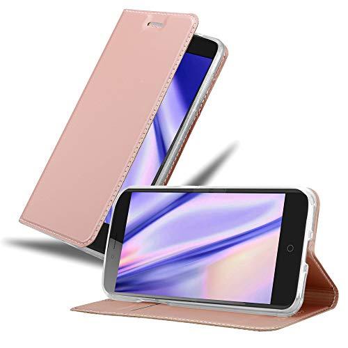 Cadorabo Hülle für ZTE Blade V7 in Classy ROSÉ Gold - Handyhülle mit Magnetverschluss, Standfunktion & Kartenfach - Hülle Cover Schutzhülle Etui Tasche Book Klapp Style