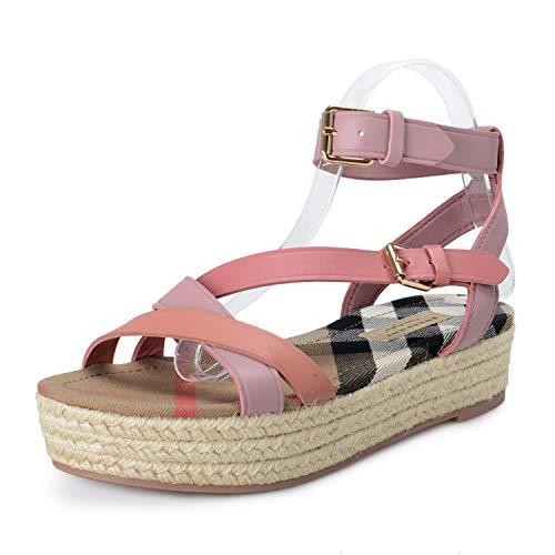 BURBERRY Women's MALTHOUSE Pink Leather Ankle Strap Platform Sandals Shoes Sz US 6 IT 36
