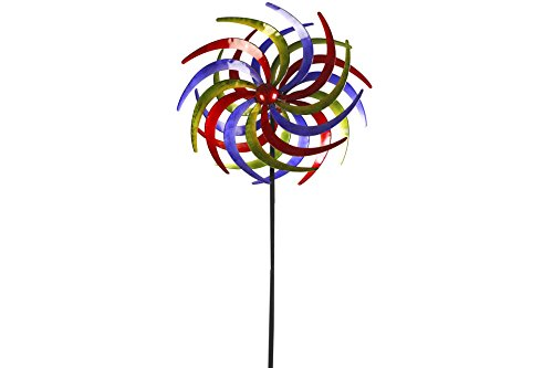 Unbekannt Doppel- Windrad Metall 60 cm Ø Tricolor 1 rot, blau & grün - 2