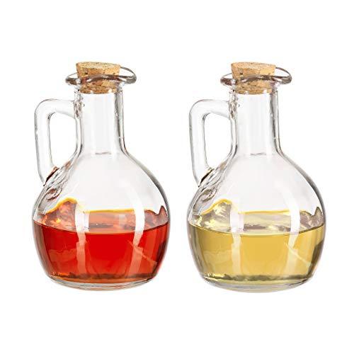Relaxdays Öl- & Essigkanne 2er Set, Glasflaschen mit Korken, runde Ölfläschchen für Öl & Essig, je 180 ml, transparent