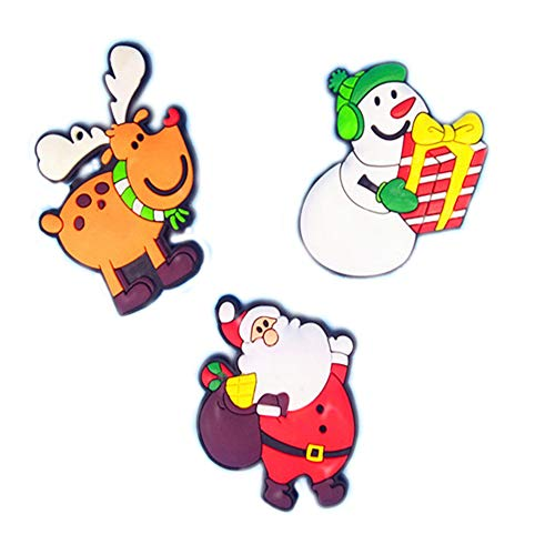 Imán para nevera de Navidad, 3 unidades, diseño de muñeco de nieve, Papá Noel y alce