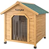 Homykic Dog House Outdoor Wooden, Fir Wood Pet Kennel Doghouse Log Cabin Insulated Shelter Weatherproof with Door Flap, Raised Floor, for Cat Rabbit Bunny, 23.6x24.8x29.6 Inch, Small