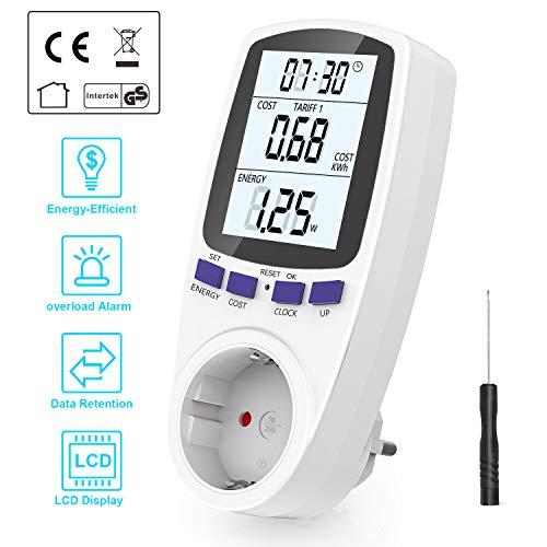 Gifort Energiekostenmessgerät, Digitaler Energiekosten Messgerät mit LCD Bildschirm Überlastsicherung, strommessgerät Time Sharing Abrechnungsbereiche, Maximale Leistung 3680W