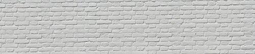 wandmotiv24 Küchenrückwand weisser Backstein 240 x 50cm (B x H) - Aluminium 3mm Nischenrückwand Spritzschutz Fliesenspiegel-Ersatz M0050