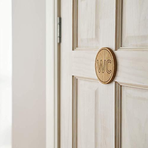 Juego de letreros para puerta de baño, letrero de madera para baño, WC, señal para puerta de baño