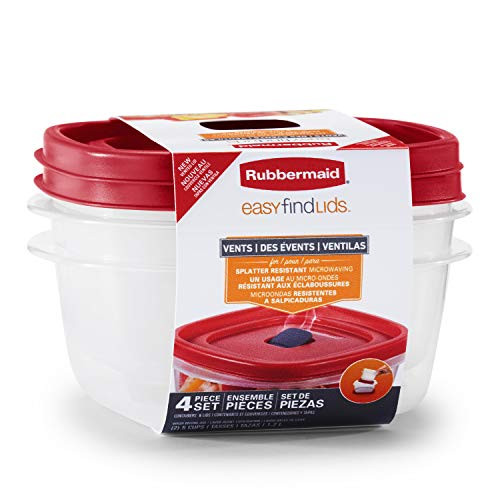 Rubbermaid Easy Find Lids 5-Cup Food Storage and Organization Containers and Lids 2-Pack Racer Red
