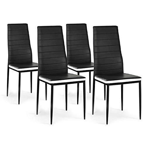 IDMarket - Lot de 4 chaises Romane Noires Bandeau Blanc pour Salle à Manger