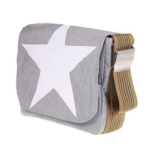 Segeltuchtasche CANVASCO Urban L/Tasche grau/Gurt Vintage-Gold/Motiv Stern weiß