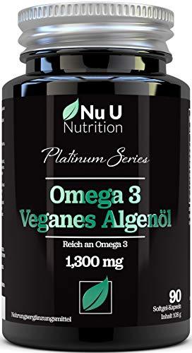 Vegan Omega 3 Algenöl mit Vitamin E - 1300 mg - Veganes DHA aus Meeresalgenöl - 90 Omega 3 Algenöl Softgelkapseln - Vegan und Vegetarisches Omega 3