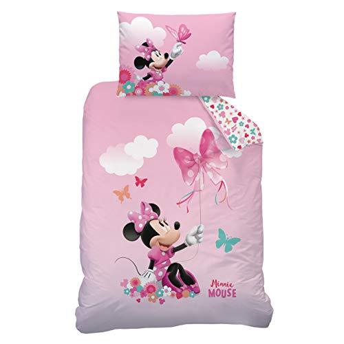 CTI Minnie Mouse Bettwäsche Flanell/Biber ☆ Kinderbettwäsche für Mädchen pink rosa ☆ Disney Minnie Maus Schmetterling - 1 Kissenbezug 40x60 + 1 Bettbezug 100x135 cm