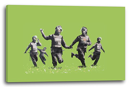 Printed Paintings Leinwand (120x80cm): Banksy - Police Officers in Field Polizei-Offiziere auf gr