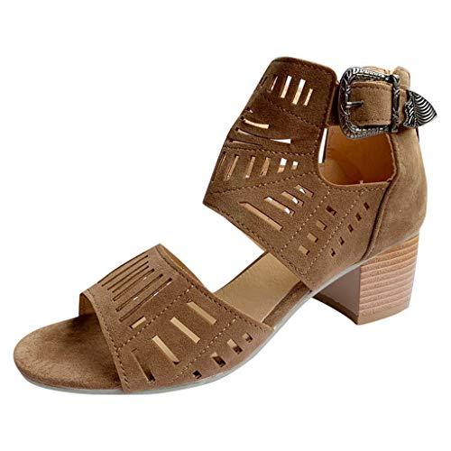 Women Booties Chunky Low Heel Peep Open Toe Ankle Boots V Cut Block Summer Sandals Side Zipper (9, Brown -2)