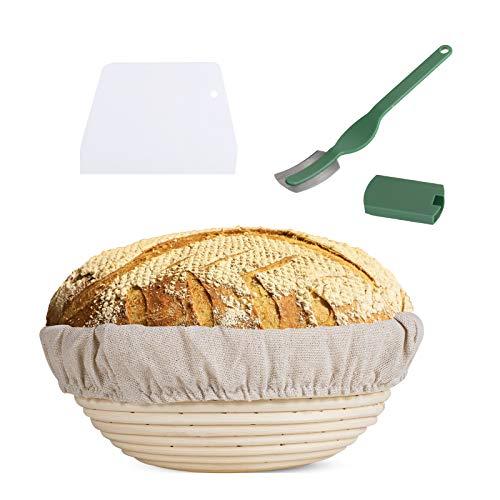 Gärkörbchen rund,Proof Korb für Brot und Teig,aus natürlichem Peddigrohr– mit Leineneinsatz (25cm)