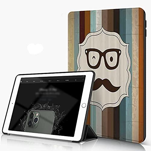 Carcasa para iPad 10.2 Inch, iPad Air 7.ª Generación ,Cara de hombre divertido con bigote y gafas guiñando un ojo sobre fondo rayado Sir i,incluye soporte magnético y funda para dormir/despertar