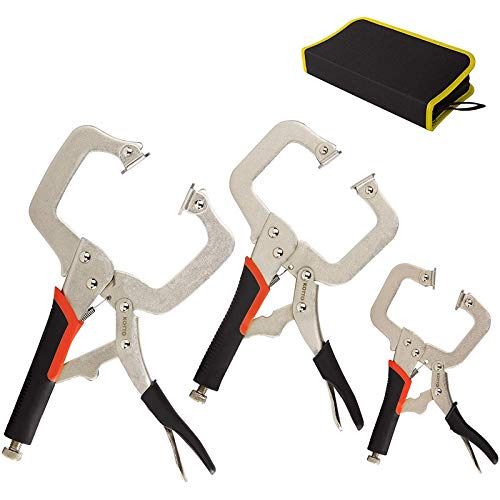 KOTTO 3 Packs Heavy Duty Locking C-Clamp Set, 6 Inch, 9 Inch and 11 Inch Locking Pliers Tools With Swivel Tips with Storage Bag for Craftsmen, Home & Workshop Use