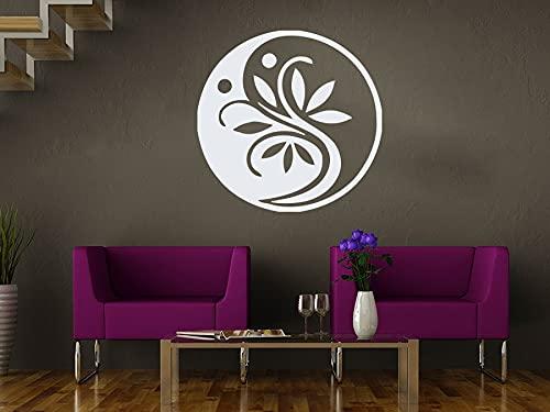 Zdklfm69 Pegatinas de Pared Adhesivos Pared Flor Ying Yang para Sala de Estar, Estilo de Estudio de Yoga, patrón Interior, meditación, decoración del hogar 42x42cm