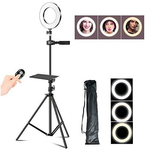 16cm selfie Ring Light, LED-Fill Light met beugel en Bluetooth Remote Control, 3 Lighting Modes en 10 aanpassen van de helderheid, C, 1.7m LMMS