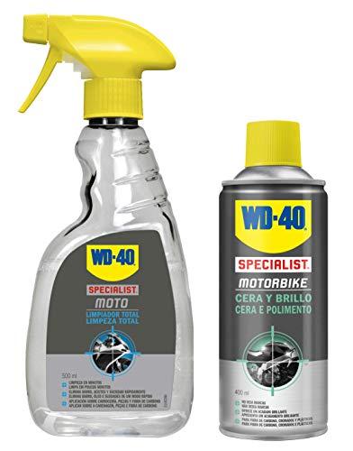 WD-40 Specialist Motorbike – Lote para moto limpia y radiante con Limpiador Total 500Ml + Cera y Brillo 400Ml - Pack 2 unidades