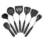 7 piezas de utensilios de cocina de silicona calor Cocina Resistente cocinar Utensilios manija antiadherente de acero inoxidable Juego de herramientas for cocinar Gadget (Color : Gray)