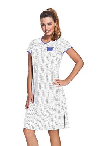 e.FEMME Damen Nachthemd Marion 306 (Ecru/Jeans gepunktet, 48)