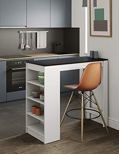 Temahome Aravis Table Bar Avec Rangements, Panneaux de Particules Mélaminés, Blanc/Noir, 115 X 50 X 102,7 cm (LxPxA)