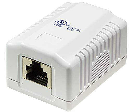 odedo® CAT 6A 10 Gigabit 500Mhz Anschlussdose Aufputzbox Universal Netzwerkdose 1x RJ 45 voll geschirmt für 10 Gigabit Reinweiß RAL9010, AWG 22-26 auch PoE (Mount Box 1port)